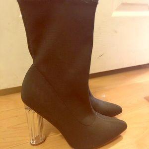 High rise heeled booties